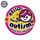 "Hello-Autism (Girl2) 3.5"" Button (10 pack)"