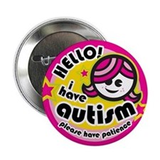 "Hello-Autism (Girl2) 2.25"" Button (10 pack)"