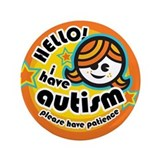 "Hello-Autism (Girl1) 3.5"" Button"