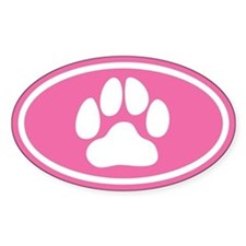 Pink Paw Print Oval Decal