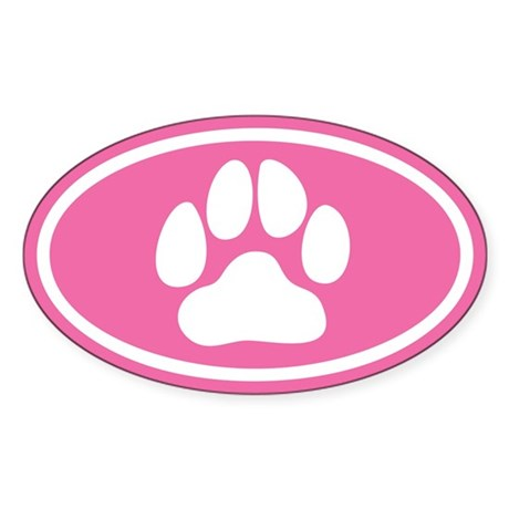 Pink Paw Print Oval Sticker