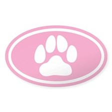 Pink Paw Print Oval Stickers