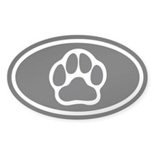 Black Paw Print Euro Oval Decal