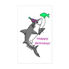 Birthday Shark Rectangle Decal