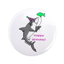 "Birthday Shark 3.5"" Button"