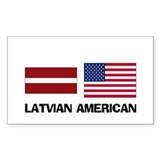 Latvian American Rectangle Decal