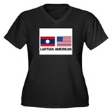 Laotian American Women's Plus Size V-Neck Dark T-S