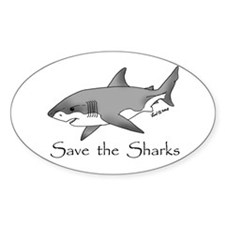 Save the Sharks Oval Decal