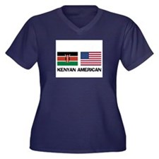 Kenyan American Women's Plus Size V-Neck Dark T-Sh