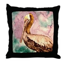 Pelican wildlife bird art Throw Pillow
