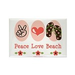 Peace Love Beach Flip Flop Rectangle Magnet 10 pk