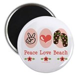Peace Love Beach Flip Flop Magnet
