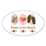 Peace Love Beach Flip Flop Oval Sticker