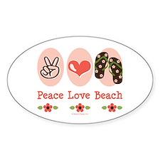 Peace Love Beach Flip Flop Oval Stickers