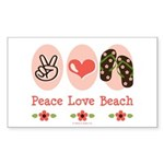 Peace Love Beach Flip Flop Sticker Rectangle 10 pk