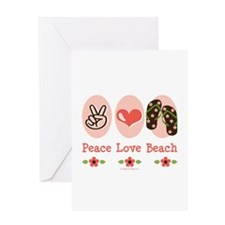 Peace Love Beach Flip Flop Greeting Card