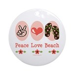 Peace Love Beach Flip Flop Ornament (Round)