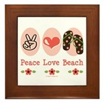 Peace Love Beach Flip Flop Framed Tile