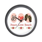 Peace Love Beach Flip Flop Wall Clock