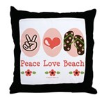 Peace Love Beach Flip Flop Throw Pillow
