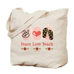 Peace Love Beach Flip Flop Tote Bag