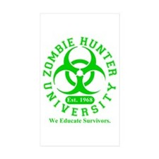 A Zombie Hunter University Rectangle Sticker 10 p