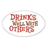Drinks Well With Others - Oval Sticker (50 pk)