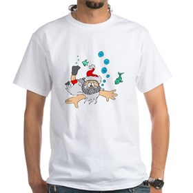 Scuba Diving Santa White T-Shirt