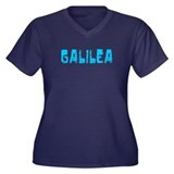 Galilea Faded (Blue) Women's Plus Size V-Neck Dark