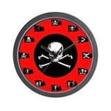Pirate Flags, Red Jolly Roger Wall Clock