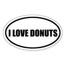I Love Donuts Bumper Oval Decal
