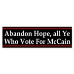 Abandon Hope Anti-McCain car sticker
