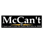 McCan't Anti-McCain Bumper Sticker