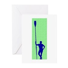 READY TO ROW GREEN BLUE PAINTED Greeting Cards (Pk