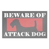 Beware of Attack Dog Airedale Terrier Decal