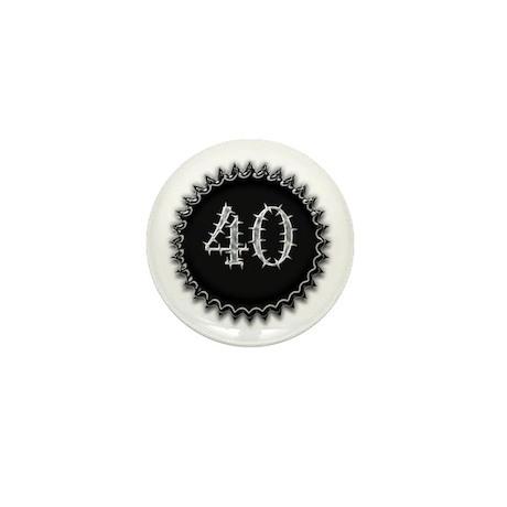 Black 40th Birthday Mini Button