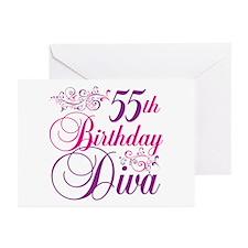 55th Birthday Diva Greeting Cards (Pk of 20)