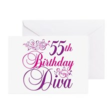 55th Birthday Diva Greeting Cards (Pk of 10)
