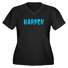 Harper Faded (Blue) Women's Plus Size V-Neck Dark