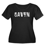 Gavyn Faded (Silver) Women's Plus Size Scoop Neck