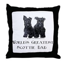 Scottish Terriers Best Dad Pu Throw Pillow