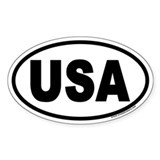 USA Euro Oval Car Bumper Stickers
