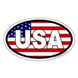 USA Flag Oval Sticker with USA letters in white.