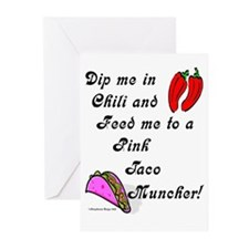 Pink Taco Muncher Greeting Cards (Pk of 20)