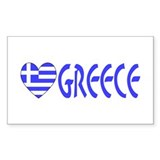 Greek Flag Heart & Greece Rectangle Decal