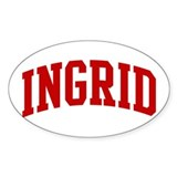 INGRID (red) Oval Bumper Stickers