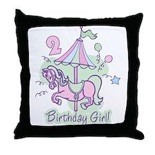 Carousel Birthday Second Throw Pillow