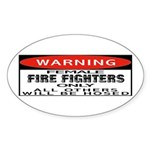 Female Fire Fighter Oval Sticker