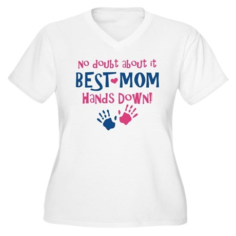 Hands Down Best Mom Women's Plus Size V-Neck T-Shi