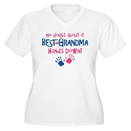Hands Down Best Grandma Women's Plus Size V-Neck T